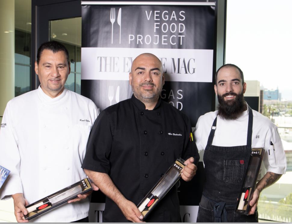 Chef Raul Villa, Pastry Chef at Luxor Hotel & Casino. Chef Noe Banuelos, Chef de Cuisine at Luxor Hotel & Casino. Chef Daniel Stramm, Executive Chef at Wolfgang Puck Restaurant